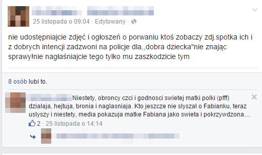 Internauci związani z ojcem chłopca bez skrępowania gratulują mu porwania dziecka. | Fot. Screen z profilu ojca chłopca na Facebooku