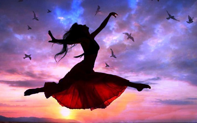 ws_Woman_Free_Flying_Sunset_Birds_1680x1050