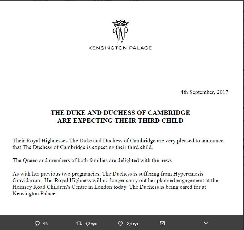 Fot. Screen z Twittera / Kensington Palace